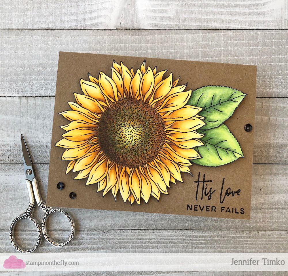 Sunflower by Jen Timko | Big Blooms - Sunflower Stamp Set by Taylored Expressions, His Love Stamp Set by Right At Home, Copic Coloring