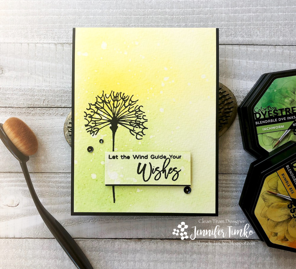 FMS385 by Jen Timko | Dandelion Wishes Stamp Set by Picket Fence Studios, Dyestress Ink by Clearsnap, Life Changing Blender Brushes by Picket Fence Studios