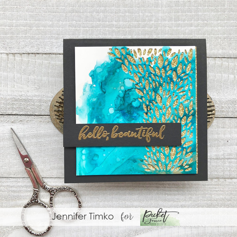 Beautiful Leaves by Jen Timko | Leaves Negative Die by Picket Fence Studios, Hello Beautiful Stamp Set by Picket Fence Studios, Tim Holtz Ranger Alcohol Ink, Concord and 9th Glimmer Paper