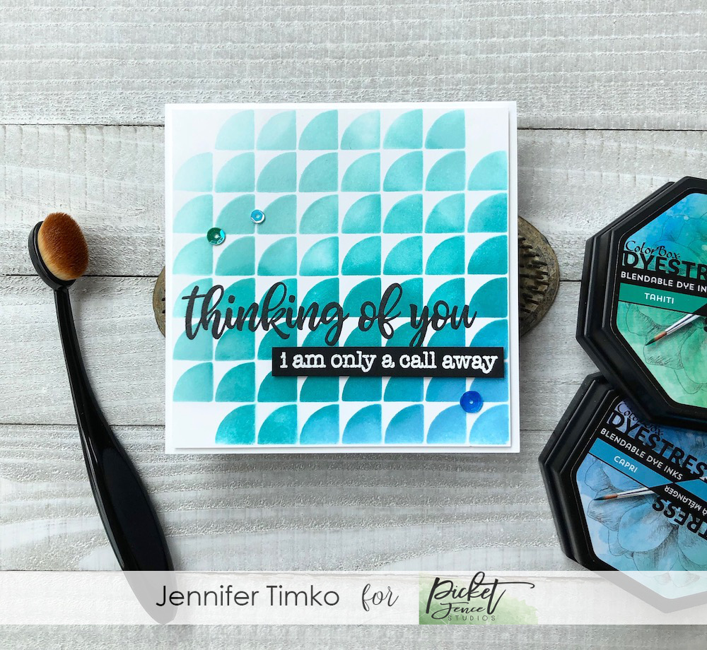 Thinking of You by Jen Timko | Fish Scales Stencil by Picket Fence Studios, Ways to Say Get Well by Picket Fence Studios, Rustic Floral by Picket Fence Studios, Life Changing Blender Brushes, Colorbox Dyestress Inks