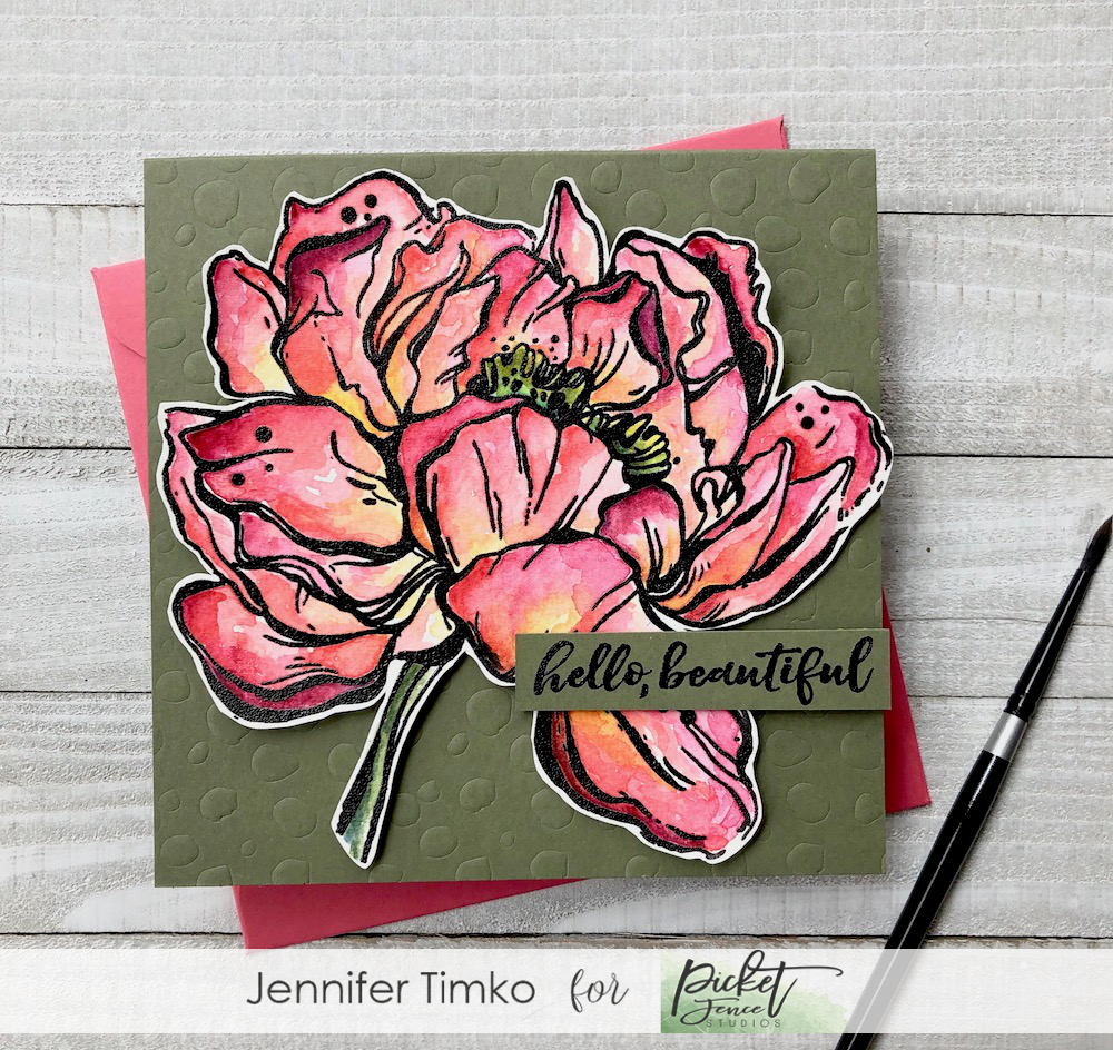 Beautiful Peony by Jen Timko | Botan Peony Stamp by Picket Fence Studios, Hello Beautiful Stamp by Picket Fence Studios, Daniel Smith Watercolors, Watercoloring