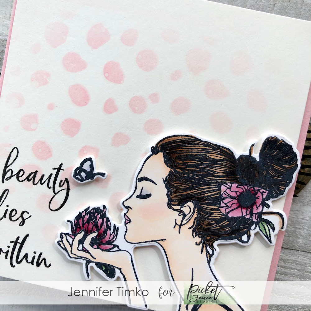 Beauty Lies Within by Jen Timko | Sandra Girl Stamp Set and Die by Picket Fence Studios, Kiss Kiss Sandra Girl Stamp by Picket Fence Studios, Random Dots Stencil by Picket Fence Studios, Copic Coloring, Distress Oxide Ink, Life Changing Blender Brushes by Picket Fence Studios
