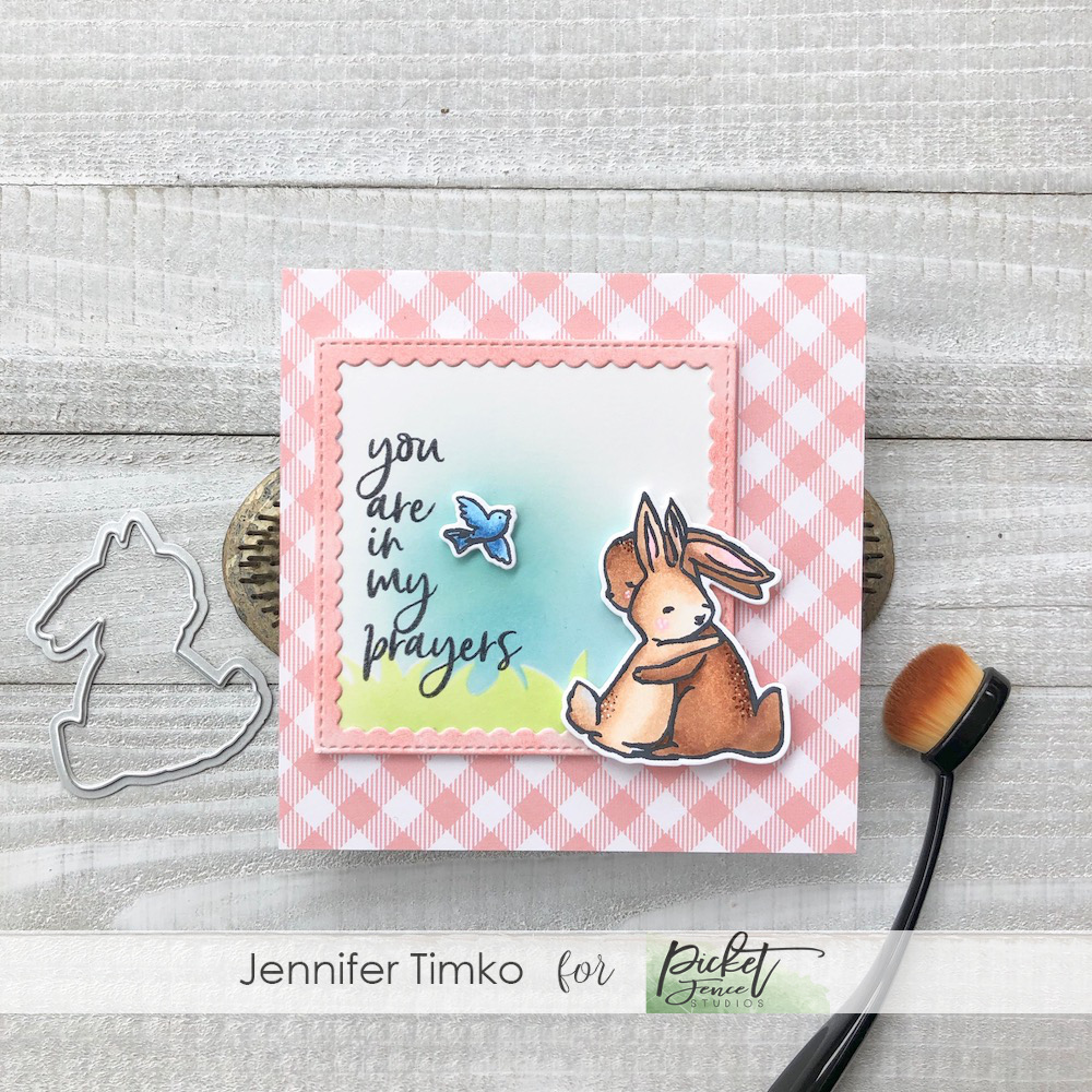 In My Prayers by Jen Timko | Peach and Piper Stamp Set by Picket Fence Studios, Layers of Grass Stencil by Picket Fence Studios, Life Changing Blender Brushes, Copic Coloring