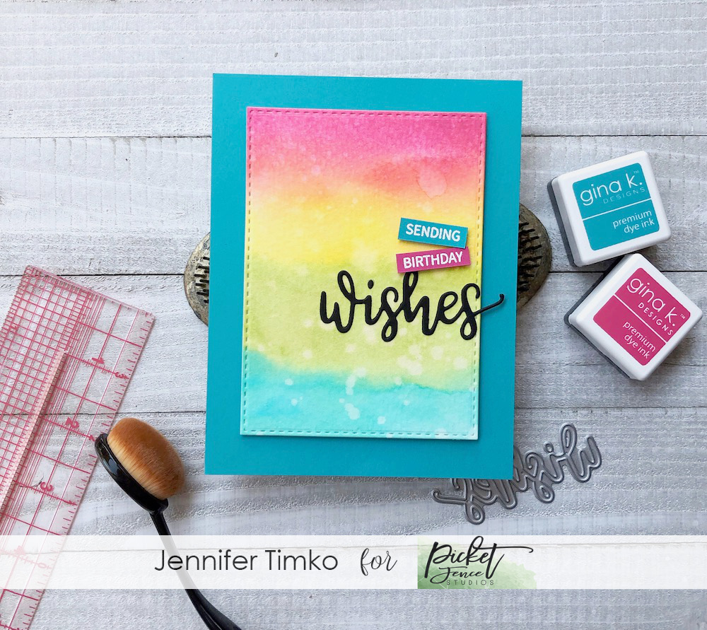 Sending Birthday Wishes by Jen Timko | Wishes Stamp set and Wishes Word Die by Gina K Designs, Cut Align by My Sweet Petunia, Life Changing Blender Brushes by Picket Fence Studios