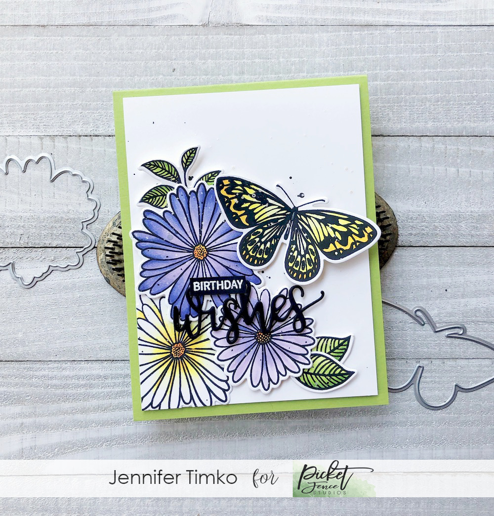 Birthday Wishes by Jen Timko | Elegant Asters Stamp Set and Dies by Gina K Designs, Wishes Stamp by Gina K Designs, Wishes Die by Gina K Designs, Copic coloring, Flowers