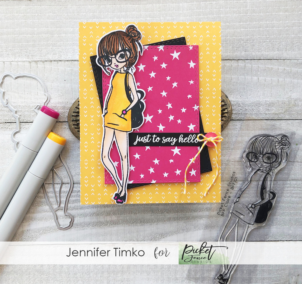 Just To Say Hello by Jen Timko | BFF Claire Stamp Set and Dies by Picket Fence Studios, Copic Coloring